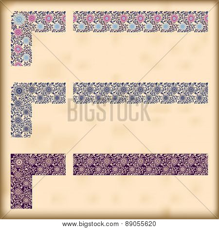 Set Of Ornate Borders With Decorative Corner Elements, Vector