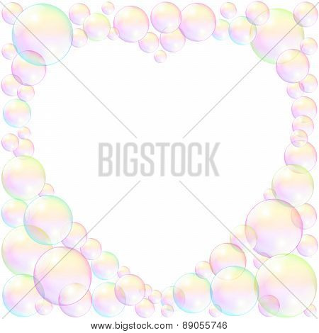 Soap Bubbles Heart Frame Love