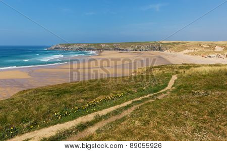 South West coast path Holywell Bay Cornwall England UK near Newquay and Crantock