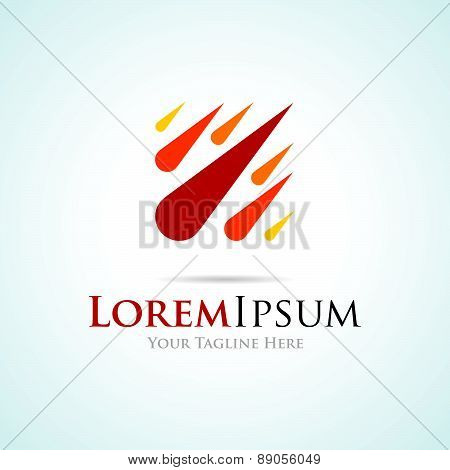 Red and yellow comets burning simple business icon logo