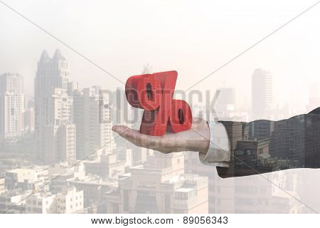 Glass Reflection Of Hand Showing 3D Red Percentage Sign