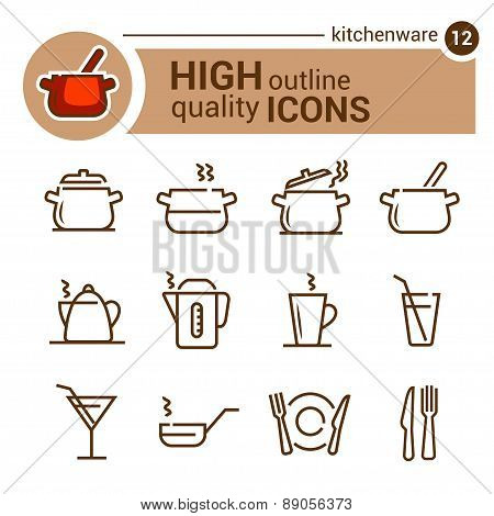 kitchenware line icons