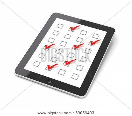 Generic tablet PC with checkboxes