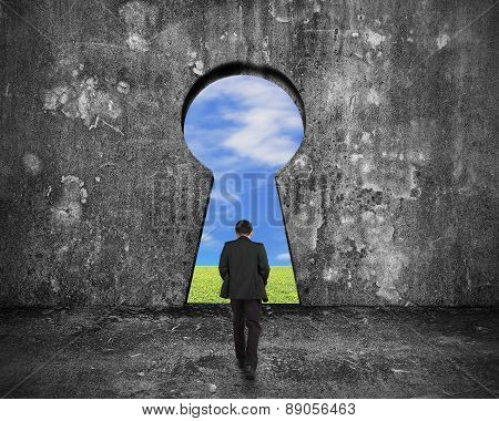 Businessman Walking Toward Keyhole Door With Sky Clouds Grass View