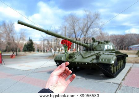 Russian Tank in a holiday Park and victory