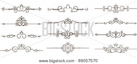 Set Of Dozen Decorative Text Dividers.