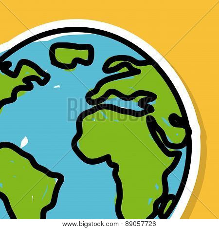 earth design over orange background vector illustration