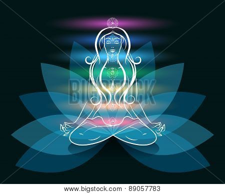 Yoga meditation woman lotus silhouette