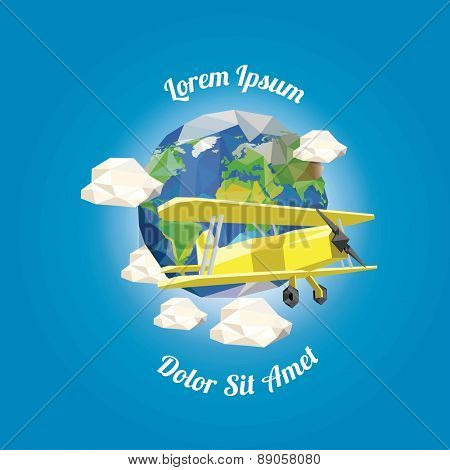 Low poly plane near earth with clouds. vector illustration