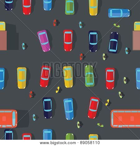 Parking and cars. Top view.Vector illustrations. Seamless Background