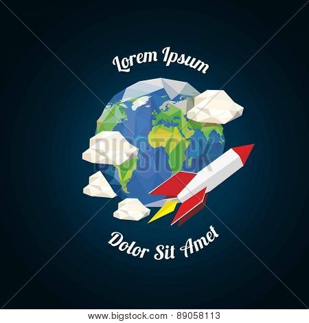 Low poly rocket near earth with clouds. vector illustration