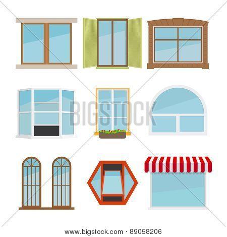 Vector flat window set