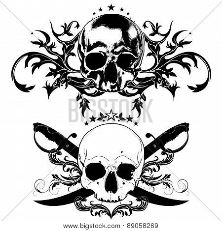 decorative art background with skull