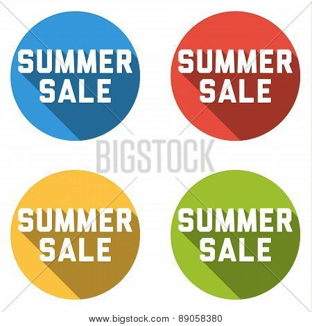Collection Of 4 Isolated Flat Buttons (icons) With Summer Sale