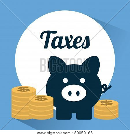 tax icon over  blue  background vector illustration