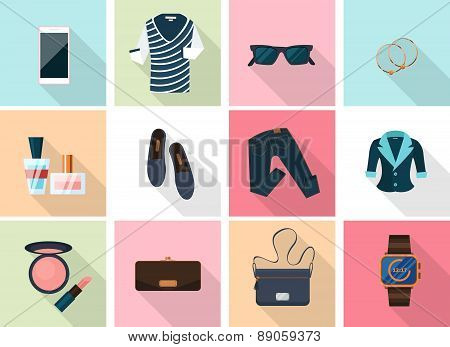 Women clothes and accessories icons in flat style