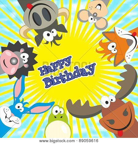 Cute Happy Birthday Card With Funny Animals. Elk, Cow, Hedgehog, Little Mouse, Fox, Frog, Rabbit. Ve