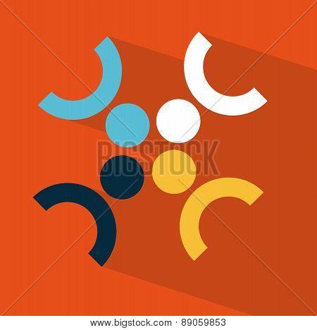 teamwork design over  orange background vector illustration