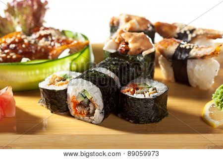Japanese Cuisine - Eel Sushi Set. Nigiri and Gunkan Sushi with Maki Sushi and Sashimi
