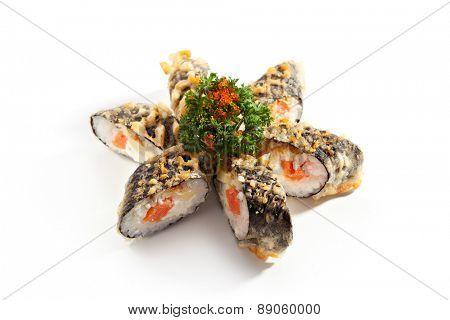 Tempura Maki Sushi - Deep Fried Roll made of Fresh Raw Salmon and Cream Cheese inside
