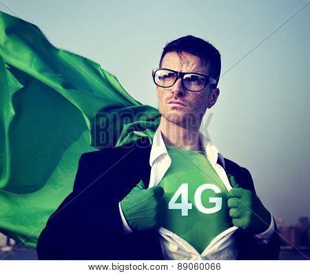 Strong Superhero Businessman 4G Concept