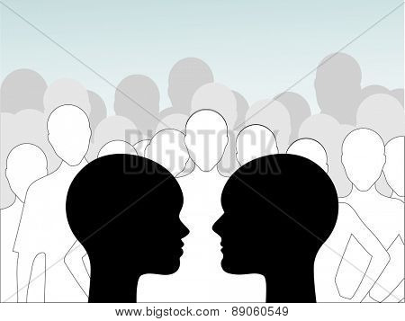 Group think  - male and female profiles with group behind