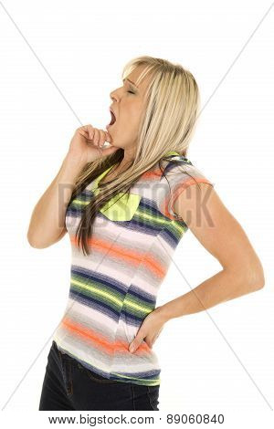 Tired Woman In Colorful Shirt