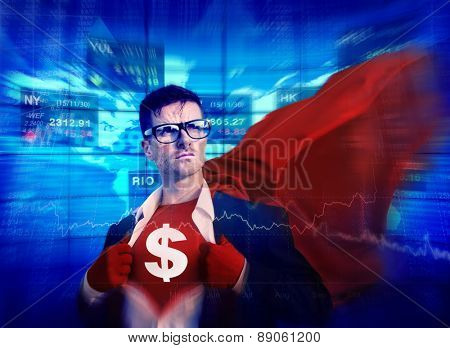 Dollar Sign Strong Superhero Success Professional Empowerment Stock Concept