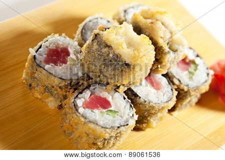 Tempura Maki Sushi - Deep Fried Roll made of Tuna and Salad Leaf inside