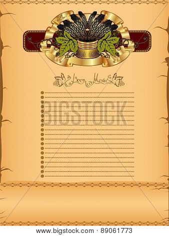 menu or background with grain, hop elements on vintage paper