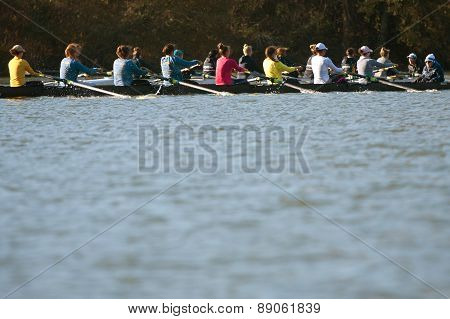 Women's College Crew Teams Compete Along Atlanta River