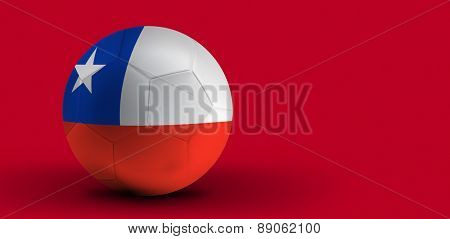 Chilean soccer ball on red background