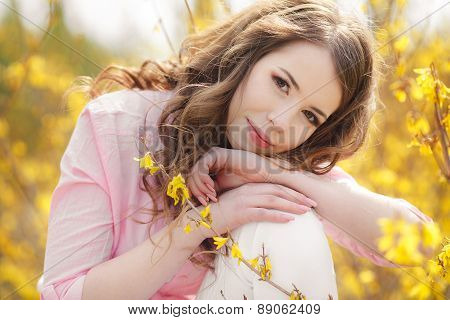 Spring portrait of a beautiful woman.