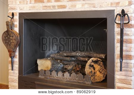 Metallic Home Fireplace With Tools And Trunks