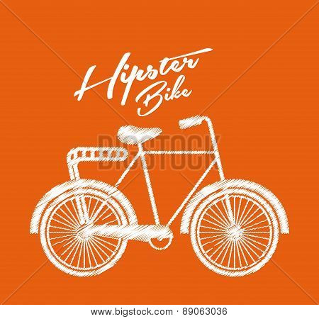 hipster design over orange background vector  illustration