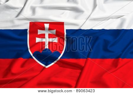 Slovakia Flag On A Silk Drape Waving