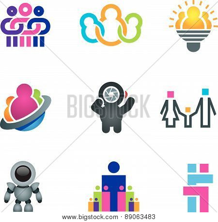 Different creative people interacting and creating fun and innovative ideas for future social commun