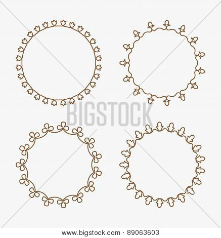 Set Of 4 Decorative Calligraphic Floral Round Frames With Full Editable Stroke Weight