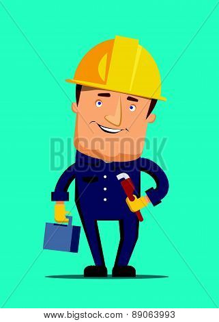 Hard working man holding tool box illustration