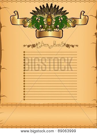 menu or background with grain, hop elements