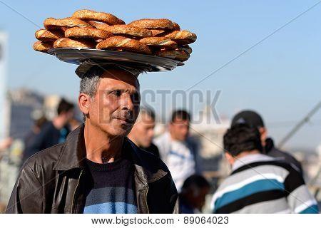 Street vendor selling simits, IStanbul, Turkey