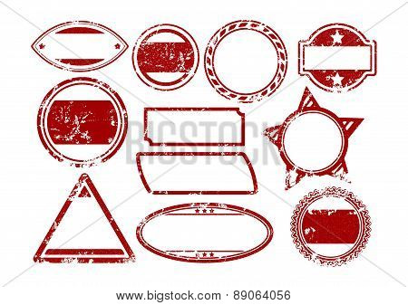 Big Set Of Grunge Vector Rubber Stamps Templates In Red.
