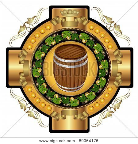 Beer Label Background with barrel and hop pattern