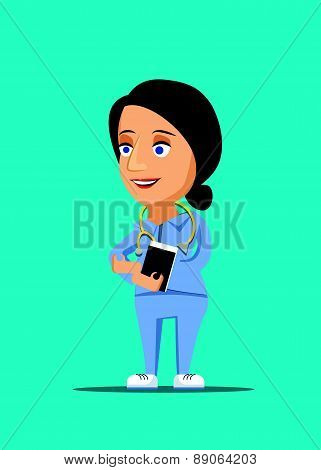 Nurse & friendly healthcare doctor illustration with stethoscope icon