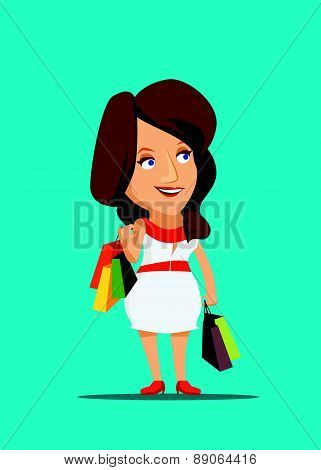 Woman shopping new clothing with class in New York vector illustration