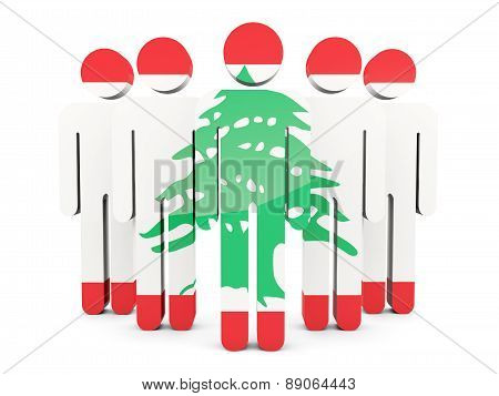People With Flag Of Lebanon