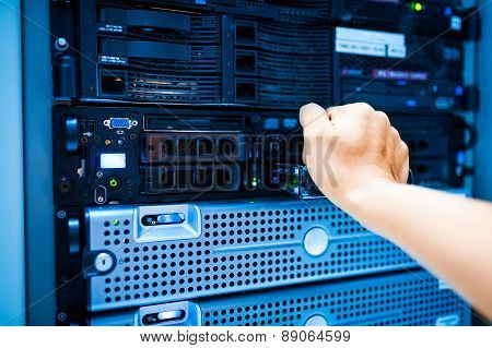 People Fix Server Network In Data Room
