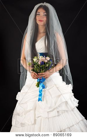 attractive woman in a wedding dress
