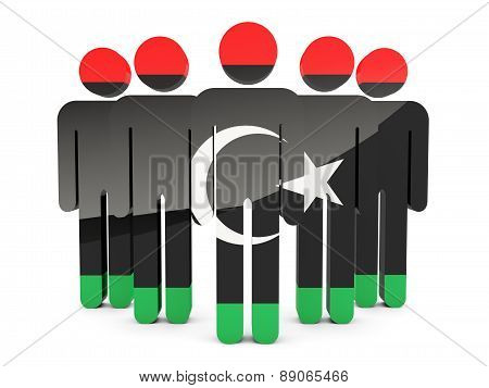 People With Flag Of Libya