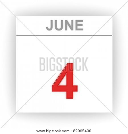 June 4. Day on the calendar. 3d